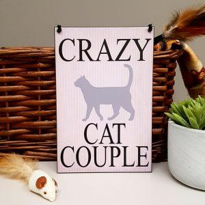 cat lover plaque crazy cat couple