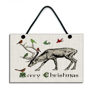 christmas plaque merry christmas traditional reindeer sign