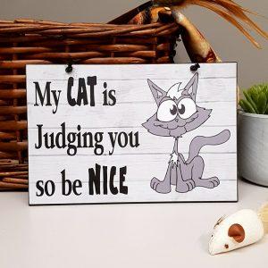 fun cat plaque my cat is judging you