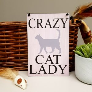 funny crazy cat lady plaque
