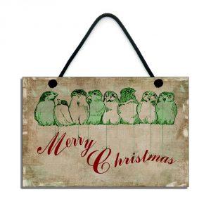 merry christmas plaque traditional robin - birds