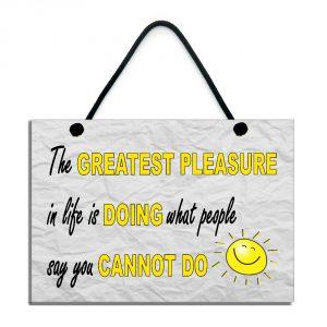 Motivational Plaque The Greatest Pleasure In Life