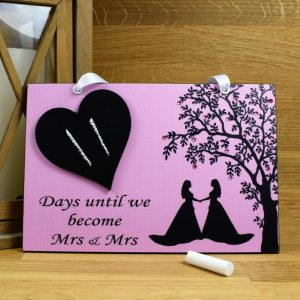 mrs and mrs pink wedding countdown plaque