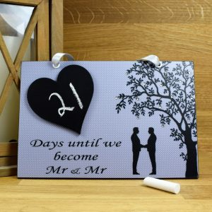 mr and mr blue wedding countdown plaque
