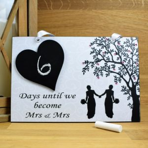 mrs and mrs wedding countdown plaque