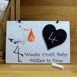 personalised baby countdown plaque
