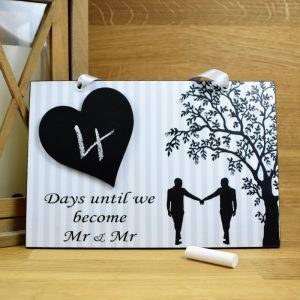 mr and mr wedding countdown plaque