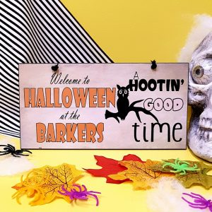 personalised halloween party sign a hootin good time