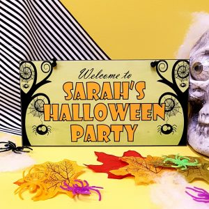 personalised halloween welcome party sign