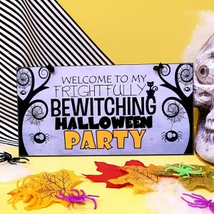 frightfully bewitching halloween party sign