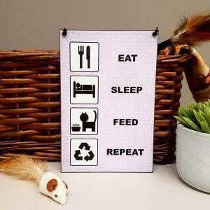 fun cat gift eat sleep feed repeat