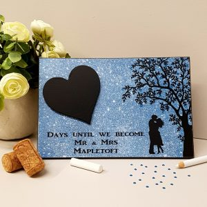 personalised blue wedding countdown sign