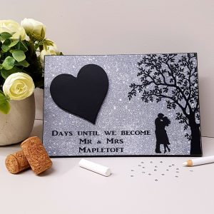 personalised grey wedding countdown plaque