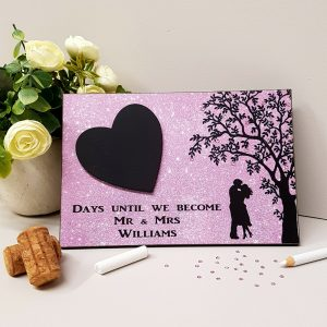 personalised pink wedding countdown plaque