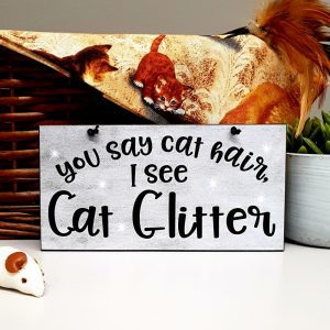 funny cat plaque you say cat hair i see cat glitter
